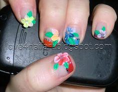 3D Rainbow Flower Nails ~ Love4NailArt  http://love4nailart.blogspot.com/2011/07/3d-rainbow-flower-nails.html