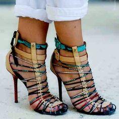 Strappy heels. Pinterest: pearlxoxoxo