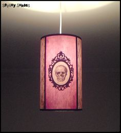 Baroque Skull damask pendant lamp shade lampshade - customizable colors - gothic decor, boudoir lamp, pink pendant light, glam rock. €85.00, via Etsy.