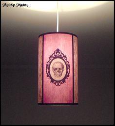 Baroque Skull damask pendant lamp shade lampshade - customizable colors - gothic decor, boudoir lamp, pink pendant light, glam rock. €85.00, via Etsy.