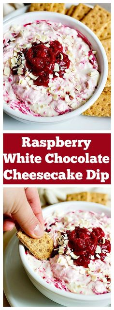 Cut down preparation time and make your favorite cheesecake in 15 minutes! Raspberry White Chocolate Cheesecake Dip with homemade raspberry sauce is too good to say no to!