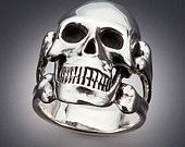 Silver Large Skull and Crossbone Ring