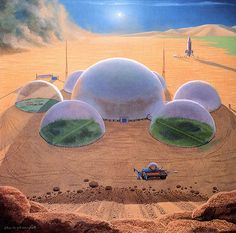 """Picture of the Day - """"Colony on Mars under plastic domes"""" by classical space artist Chesley Bonestell, dubbed as """"Father of Modern Space Art"""". Art Science Fiction, Mars Project, Mars Colony, Sci Fi Kunst, 70s Sci Fi Art, Ecole Art, Future City, Retro Art, Sci Fi Fantasy"""