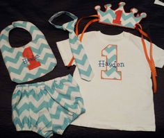 Chevron Cake Smash Outfit including Shirt, Tie, Diaper Cover, Bib, and Crown