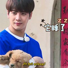 Rocking the puppy like a baby! Too cute || jackson Got7