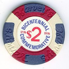 Harvey's - Lake Tahoe - $2 bicentennial. Issued in 1976 to commemorate the bicentennial. #vintage bicentennial casino chip