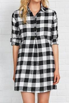 Cupshe Play Chess With Me Plaid Shirt Dress