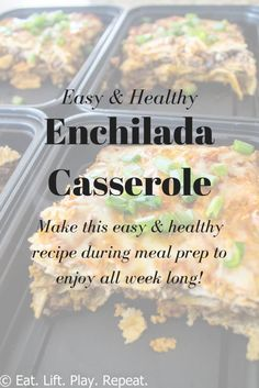 A healthy enchilada casserole recipe that is perfect for meal prep! All clean eating ingredients are used for this healthy and filling dinner recipe. In less than an hour you can have a healthy lunch prepared for the entire week! Click through for more details about this healthy meal prep recipe.