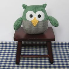 Barney Owl toy knitting pattern knit a toy animal by fluffandfuzz