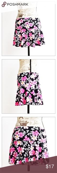 "Victoria's Secret Floral Skater Skirt Victoria's Secret Floral Skater Skirt in excellent condition. 80% Nylon; 20% Spandex.   Measurements Laying Flat:   - 14"" Waist - 12 3/4"" Length  Colors: Black, Pink, White, Fuchsia, Yellow Victoria's Secret Skirts Circle & Skater"