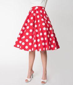 092cf8f6655681 High-Waisted Pencil Skirts, Swing & Pin Up Skirts. Red Polka Dot ...