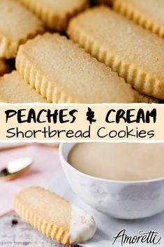 Peaches & Cream Shortbread - - Whip up a batch of our springtime shortbread cookies! Shortbread Recipes, Shortbread Cookies, Yummy Cookies, Cookies Et Biscuits, Best Ever Shortbread Recipe, Peach Cookies, Cookie Desserts, Just Desserts, Dessert Recipes