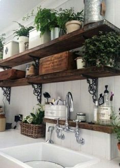 Jessica Hurtarte saved to Amazing French Country Kitchen Design Ideas 12 Awesome Rustic Kitchen ideas to build for your home Country Kitchen Farmhouse, Country Kitchen Designs, French Country Kitchens, Farmhouse Kitchen Decor, Home Decor Kitchen, Country Kitchen Shelves, Primitive Kitchen, Farmhouse Design, French Kitchen Decor