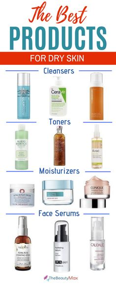 Check out these best skincare products for dry skin from budget to high end! These beauty products(moisturizers, toners, cleansers, serums and anti-aging) will help with the winter season as well. Serum For Dry Skin, Dry Skin On Face, Lotion For Dry Skin, Moisturizer For Dry Skin, Body Lotion, Products For Dry Skin, Skin Toner, Oily Skin, Beauty Products