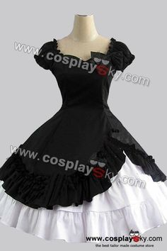 Sweet Gothic Lolita Cute Bow Black Dress + White Skirt