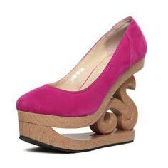 Suede Upper Pure Color Carved Heel Wedges @ MayKool.com