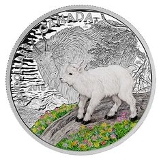 1 oz. Fine Silver Coloured Coin - Baby Animals: Mountain Goat - Mintage: 7,500 (2015)