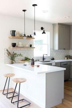 Kitchen Room Design, Home Decor Kitchen, Interior Design Kitchen, New Kitchen, Home Kitchens, Kitchen Island, Simple Kitchen Design, Awesome Kitchen, Kitchen Small