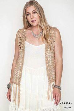 d8a3e7b8677 Plus Size Sleeveless Crochet Fringe Vest