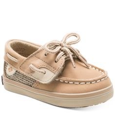 Easy-on-and-off closures make these Sperry boat shoes a simple and stylish choice for your baby girl. | Leather upper; rubber sole | Wipe clean | Imported | Lace-up look with hidden hook-and-loop clos
