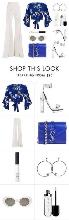 """No less"" by baludna ❤ liked on Polyvore featuring River Island, Balmain, Yves Saint Laurent, NARS Cosmetics, Chanel and Acne Studios"