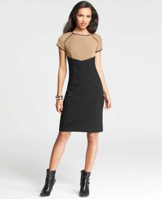 Tipped Colorblocked Sheath Dress   Ann Taylor