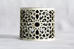 Geometric Laser cut Black & White Faux Leather Cuff (Moroccan Zillij inspired) on Etsy, $50.00