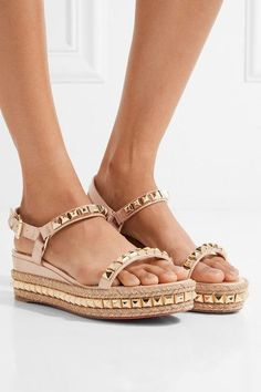 Christian Louboutin - Cataclou 60 Embellished Patent-leather Wedge Espadrille Sandals - Beige