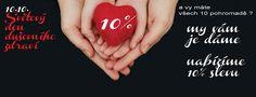 10.10. Světový den duševního zdraví - přijďte potěšit svou duši ... Víte, že je 10.10. Světový den duševního zdraví ?? A vy máte všech 10 pohromadě ? My vám je dáme ... NABÍZÍME 10% SLEVU na vybrané zboží u níže uvedených prodejců. Akce potrvá 10 dnů ( tedy od 10.10- 20.10. 2013 ) Přijďte si vybrat dárky pro sebe a své blízké dříve, než začnou podzimní ...