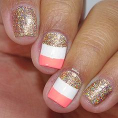 Gold Glitter Nail Design for Summer and Short Nails