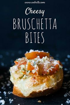 The Best Nibble!  Crisp bread, cheesy mozzarella, and herby tomatoes - it's Cheesy Bruschetta Bites!