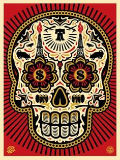 by Shepard Fairey - Power & Glory Day of the Skull - with Ernesto Yerena - Oct 2014