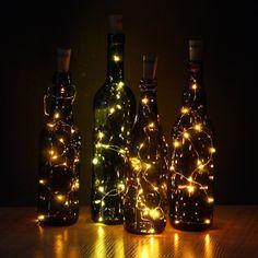 JOJOO Set of 6 Warm White Wine Bottle Cork Lights - 32inch/ 80cm 15 LED Copper Wire Lights String Starry LED Lights for Bottle DIY, Party, Decor, Christmas, Halloween, Wedding or Mood Lights LT0156 - - Amazon.com