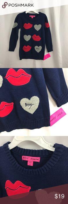 NWT Betsey Johnson sz4 navy/pink jegging sweater NWT Betsey Johnson sz4 navy/pink jegging sweater Betsey Johnson Shirts & Tops Sweaters