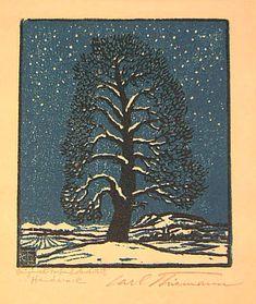 Carl Theodor Thiemann (1881-1966)    Snow tree