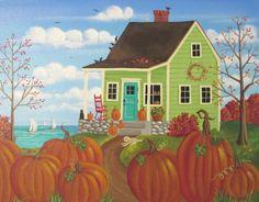 Pumpkin Time ORIGINAL Folk Art Painting FREE by KimsCottageArt, $119.95