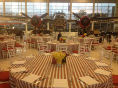 Vintage Travel #Event at Lyon Air Museum Orange County California #hangar #aviation #airplane #party