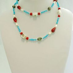 Glass Beads Necklace  jewelry in Turquoise, White and Red - Material: Glass Beaded -  - $4 -- Features: Long Glass Beads Necklace #BeadsNecklace #Necklace #Necklaces #Fashion #Jewelry #Jewels #Jewellery