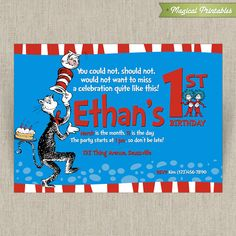 Dr Seuss Cat in the Hat Customizable Printable Birthday Invitation