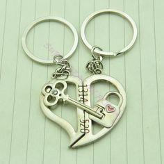 Lovely Lock You Lifetime Forever Key Chain Keyring Keyfob Lover Couple Gift Ring