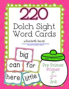 Sight Words : 220 Pre-primer to 3rd Grade Dolch Sight Words!