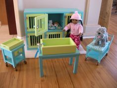 AVAILABLE IN FEBRUARY - Pet Hospital Boarding Set for American Girl Pet Vet Set - American Girl Dog - American Girl Cat. $335.00, via Etsy.