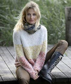 Stribet sweater i bouclé - Hendes Verden