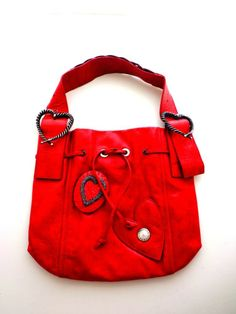 CHRISTIAN LACROIX WOMEN'S RED LEATHER PURSE W/HEART DETAIL,WAS $1800