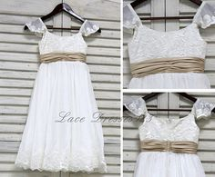 FREE SHIPPING Cap Sleeves Ivory Lace &Chiffon Flower Girl Dress With Champagne Ribbon Wedding Party Kids Toddler Little Girl (Infant-12)