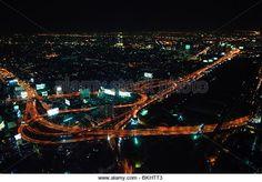 City skyline at night. Bangkok Thailand - Stock Image