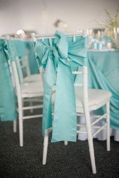 Blue Maryland Wedding Chair Ties Meaghan Elliot Photography 275x413 Chesapeake Bay Wedding Reception: Kelly + Robert