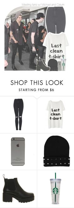 """""""Meeting fans with Michael and Calum"""" by antisocialmuke ❤ liked on Polyvore featuring Topshop, Local Heroes and Vagabond"""