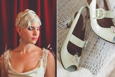 Kate dressed up her Anyi Lu slingbacks with vintage 1920′s shoe clips that she found on Etsy.     Wedding Dress: Manuel Mota for Pronovias; Shoes: Anyi Lu; Headband: Jennifer Behr; Earrings: Lulu Frost