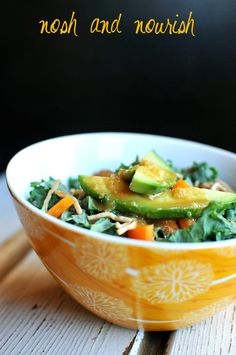 Kale, Pepper and Avocado Salad with Easy Homemade Creamy Honey Sesame Dressing via Nosh and Nourish #cleaneating #healthy